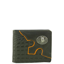 BLACK WESTERN VEGAN ALLIGATOR WOLF EMBLEM MENS SHORT BIFOLD WALLET WEST WOLF USA