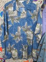 XXL Vintage Hawaiian Shirt Blue Cream Boxes Grass Huts Bamboo Pierre Cardin