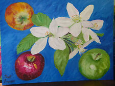 """Fine Art Oil Painting,"""" Still Life: Apples and Blossoms"""",  18"""" X 24"""", on panel"""