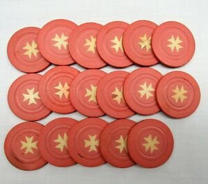 Vintage Clay Poker Chips 17 rare red inlaid star antique gambling money