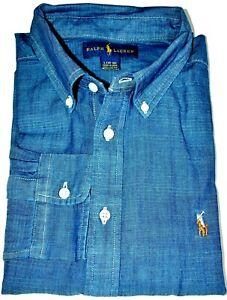 Boys Ralph Lauren Dark Blue Long Sleeve Chambray Cotton Shirt- CLEARANCE