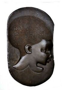 Vintage African Tribal Hand Carved Carving Ebony Wood Wall Hanging Panel Plaque