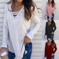 Women V Neck Long Sleeve T Shirt Cross Blouse Casual Loose Drawstring Tops Fall