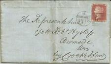 GB QV 1858 ENTIRE PENNY RED STAR 'LF' PL27 FROM DUMFRIES TO CROCKETFORD 12TH JUN