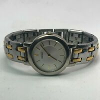 Seiko Womens 1N00 1E19 Silver Gold Stainless Steel Quartz Analog Wristwatch