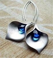 Women Vintage 925 Silver Sapphire Leaf Earrings Ear Hook Dangle Drop Jewelry