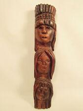 Vintage Polynesian Hand Carved Wood Tribal Tiki Faces Idol Sculpture Tahitian