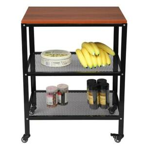 Microwave Cart With Shelf And Wheels Home Kitchen Utensil Storage Furniture
