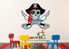 Pirat Piraten Piratenschädel Totenkopf Wandtattoo farbig 60 x 56 cm Motiv #130A