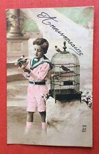 CPA. 1912. Anniversaire. Petit Garçon. Cage à Oiseaux.