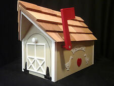 Amish Handmade Handcrafted Rural Mailbox w Flag USPS Almond / White Welcome
