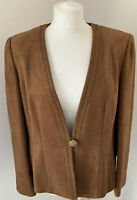 Jacques Vert Brown Suede Style Jacket Blazer Size UK 14