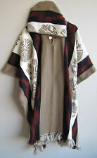 Llama Wool Man Cape Poncho beige red Woman Hood Coat Jacket Handmade in Ecuador