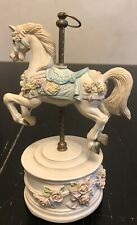 """Carousel Horse Music Box 7.5"""" White with Roses"""