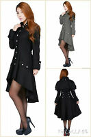 Coat Black Gothic Jacket Steampunk Military Ladies Goth Womens Victorian Punk 8