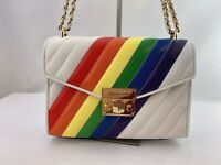 NWT Michael Kors Rose Medium Leather Shoulder Flap Bag Rainbow
