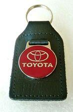 TOYOTA  BLACK LEATHER  & ENAMEL CAR KEYRING   / KEYFOB