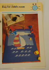 Knitting Pattern PHILDAR Pegase-Child 's Boat Picture Rug - 70 cm x 85 cm