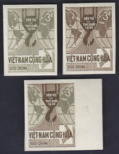 VIETNAM SOUTH 1966 Color trials x 3 Shiny White Gum NHVF