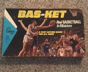 Vintage 1973 NBA Bas-Ket Board Game Basketball Cadaco #165 with  nets