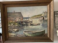 ORIGINAL Painting OIL On Board FRAMED MARINA LANDSCAPE SEASCAPE A.S.Conyes 1964