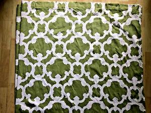Threshold Green White Quatrefoil Lattice Moroccan Trellis Fabric Shower Curtain