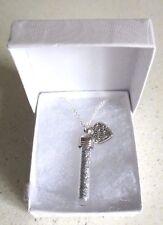 Sparkling Fairy Dust Wish Bottle & Love Heart Pendant on a Fine Curb Necklace