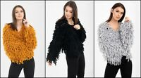 New Women's Winter 2018 Shaggy Tassel Knit Long Sleeve Cardigan Jacket Top