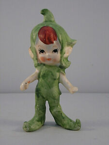 Vintage Ceramic Pixie Elf Figurine Leaf Hat Japan