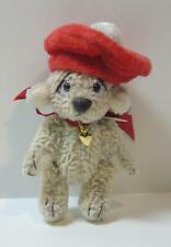 "Artist made Miniature 2"" Teddy Bear ""Genevieve with Hat"" by Beth Hogan OOAK"