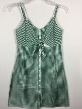 Soprano Tie Front Gingham Sleeveless Spaghetti Strap Button Dress XS Green