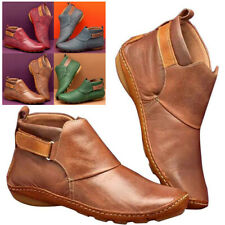 Womens Ladies Retro Flat Ankle Boots PU Leather Comfy Booties Shoes UK2.5-8.5