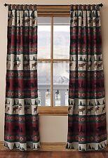 "Pair Takoma Bear Moose Wildlife Rustic Home Tab Top Window Drapes 108"" W x84"" L"