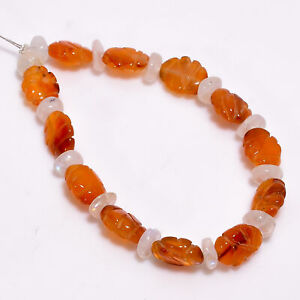 """Natural Carnelian Rainbow Moonstone Mix Carved Beads 4X3 8X6 mm Strand 5"""" DK2167"""