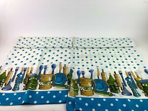 2 Vintage Blue Green & Gold Kitchen Curtain Panels Fish Polka Dots 60's Stained
