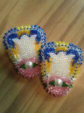 native american beaded glass cut tulip pow wow earrings