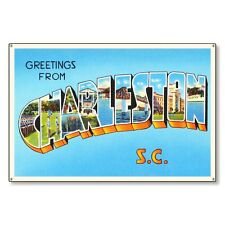 Charleston South Carolina sc Postcard Metal Sign Wall Decor Steel not tin 36x24