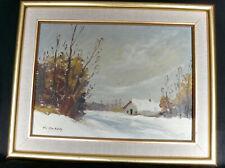 Charles CUZIN Huile Paysage de Neige Tableau Peinture déco Montagne