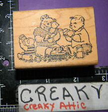 BEAR FAMILY PICINIC BABIES RUBBER STAMP STAMPEDE ANIMAL RETIRED 94701