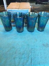 SET OF 4! Iridescent CARNIVAL GLASS HARVEST COOLERS 4 14 OZ Glasses GRAPE