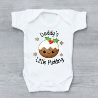 Daddy's Little Pudding Christmas First Xmas Cute Baby Grow Body Suit Vest