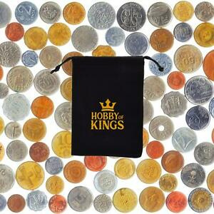 50 DIFFERENT COINS FROM MANY COUNTRIES AROUND THE WORLD + COIN BAG, PURSE!