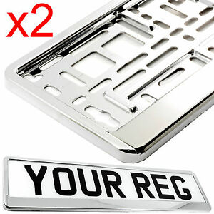 2 x CHROME EFFECT NUMBER PLATE HOLDER SURROUND CAR THE BEST GOOD FOR CAR, VAN