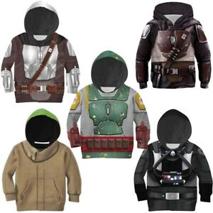 Star Wars The Mandalorian Baby Yoda Kids Hoodie Jacket Coat Sweatshirts Costumes