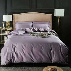 Nordic Light Violet Egyptian Cotton Twin Queen King Size Duvet Cover Set Bedding