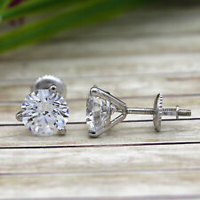 9 MM Round Classic Solitaire Simulated Diamond 9kt White Gold Stud Earrings