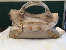 BALENCIAGA 2009 City Bag w/ GIANT GOLD HARDWARE in Praline AUTHENTIC & STUNNING