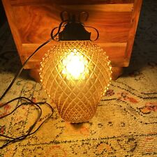 "Vintage MCM  EMBOSSED AMBER GLASS Large HANGING PENDANT LAMP 16"" X 9"""