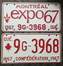 1967 EXPO 67 LICENSE PLATE ORIGINAL MONTREAL EXPOSITION CANADA AUTOMOTIVE RARE
