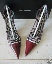 Rare! *DOLCE&GABBANA* Vtg Mary Jane EEL SKIN Pink-Red Brown Point Stiletto Heels